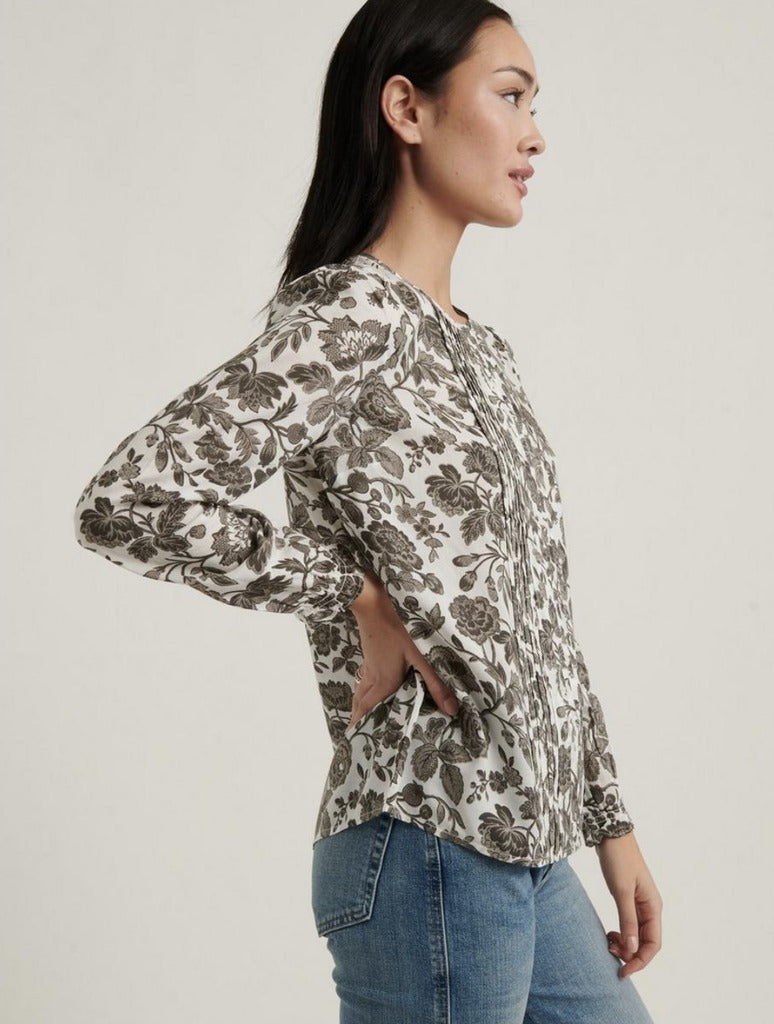 Lucky Brand Lea Pintuck Blouse in Grey