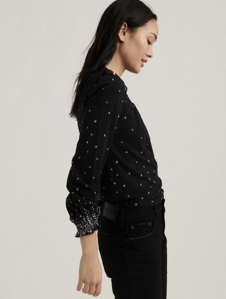 Lucky Brand Smocked Yoke Peasant Top in Black