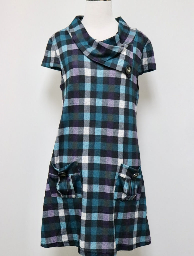 Papillon Plaid Dress in Green