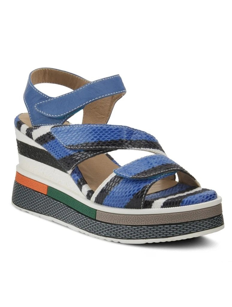 L'Artiste Akokomo Strappy Wedge in Blue Multi
