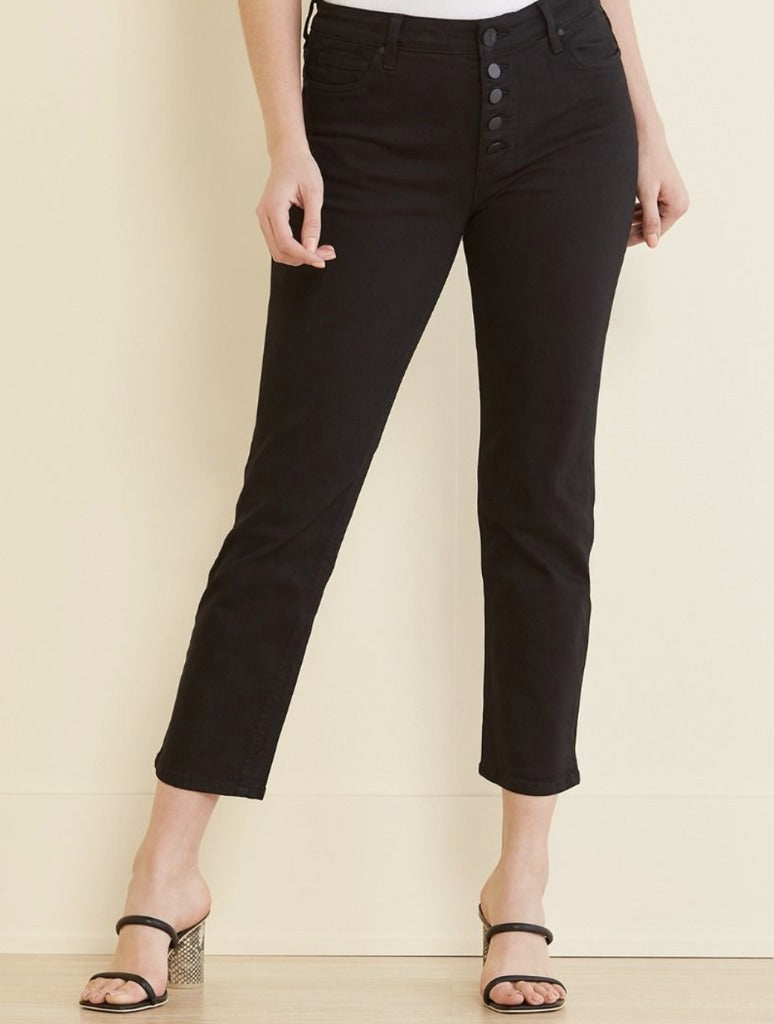 Kut Reese Button High Rise Straight Leg in Black