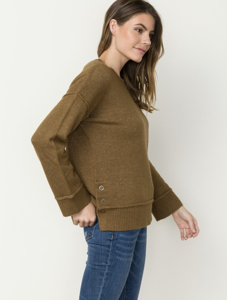 Mystree Side Button Sweater in Brown