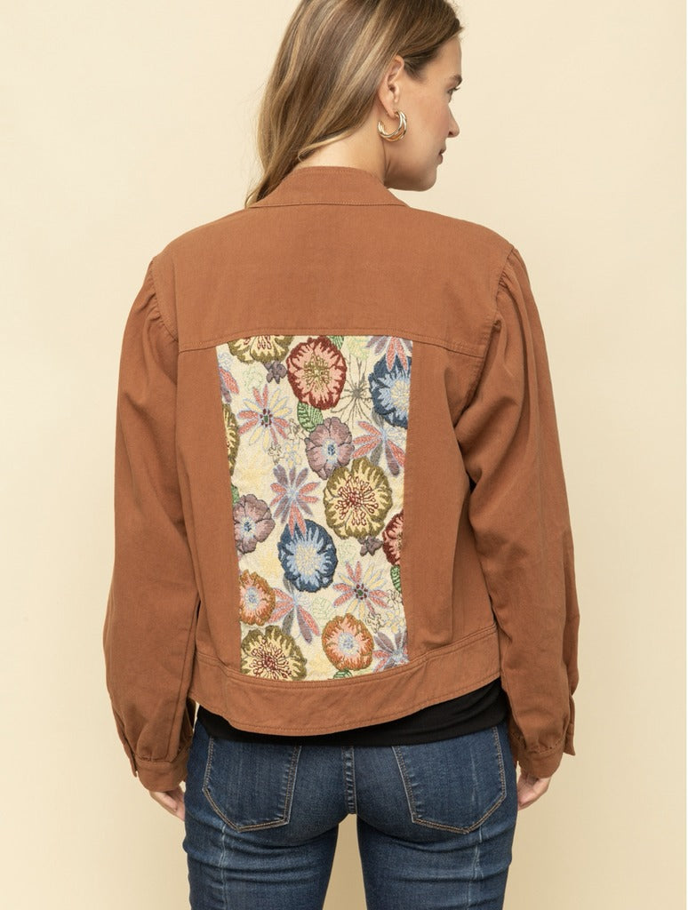 Mystree Puff Sleeve Jacket in Rust