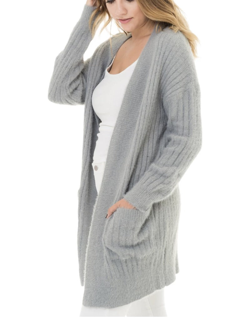 Woven Heart Cardigan in Grey