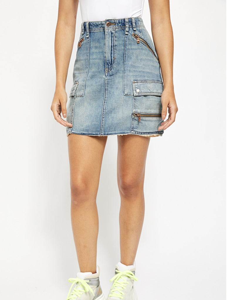 Free People Ave Mini Skirt in Indigo
