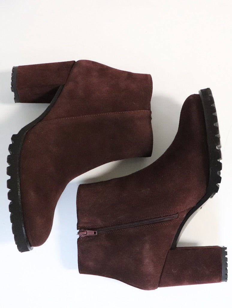 Eric Michael Quebec Suede Heeled Ankle Boot in Bordeaux