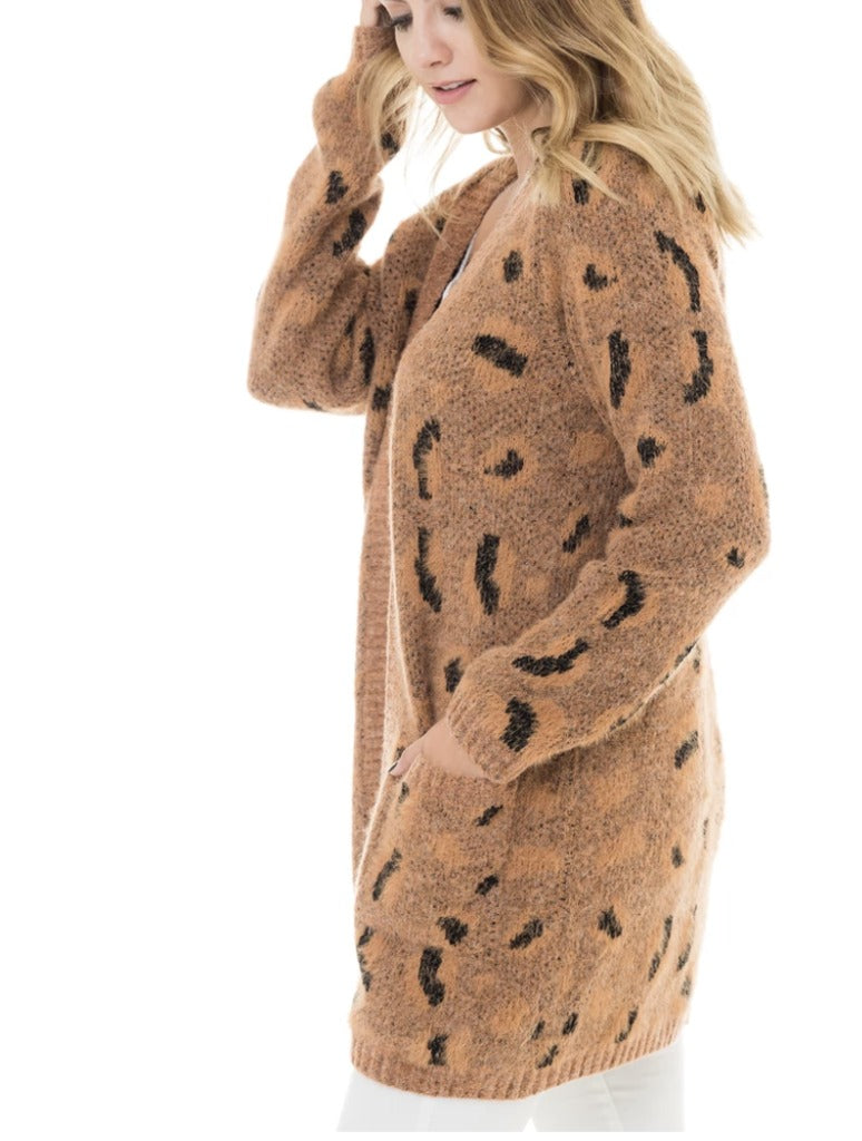 Woven Heart Animal Cardigan in Brown Leopard