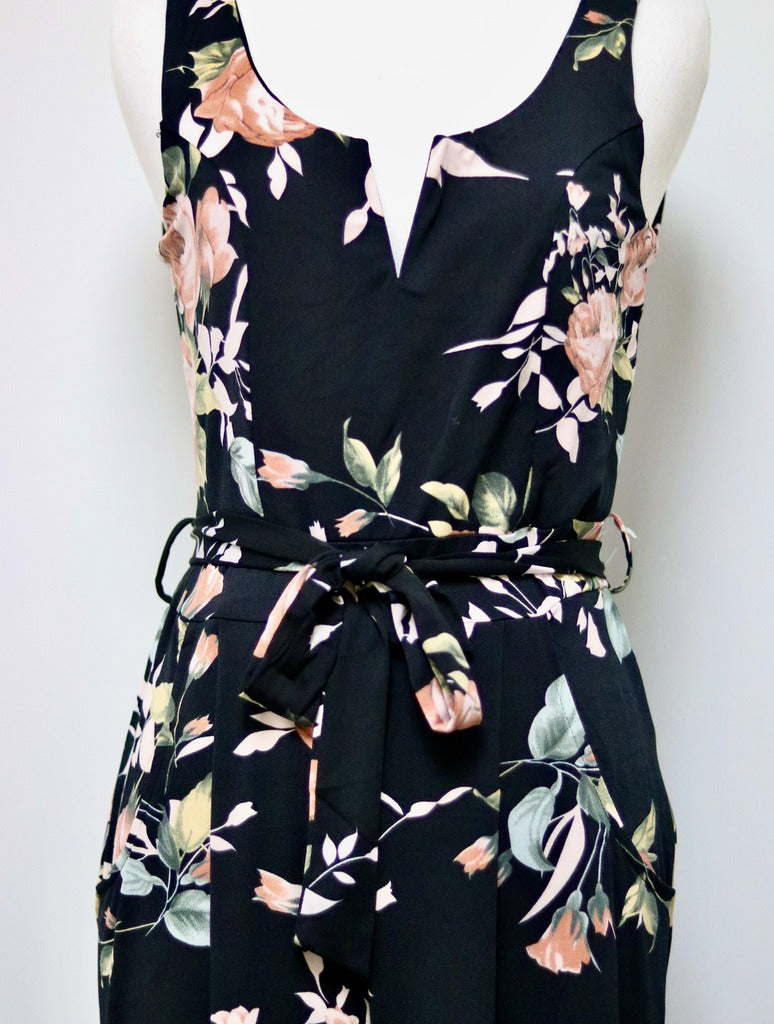 Papillon Floral Jumpsuit in Black