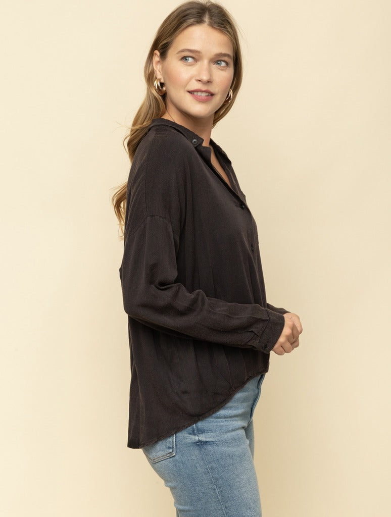 Mystree Button Down Top in Black