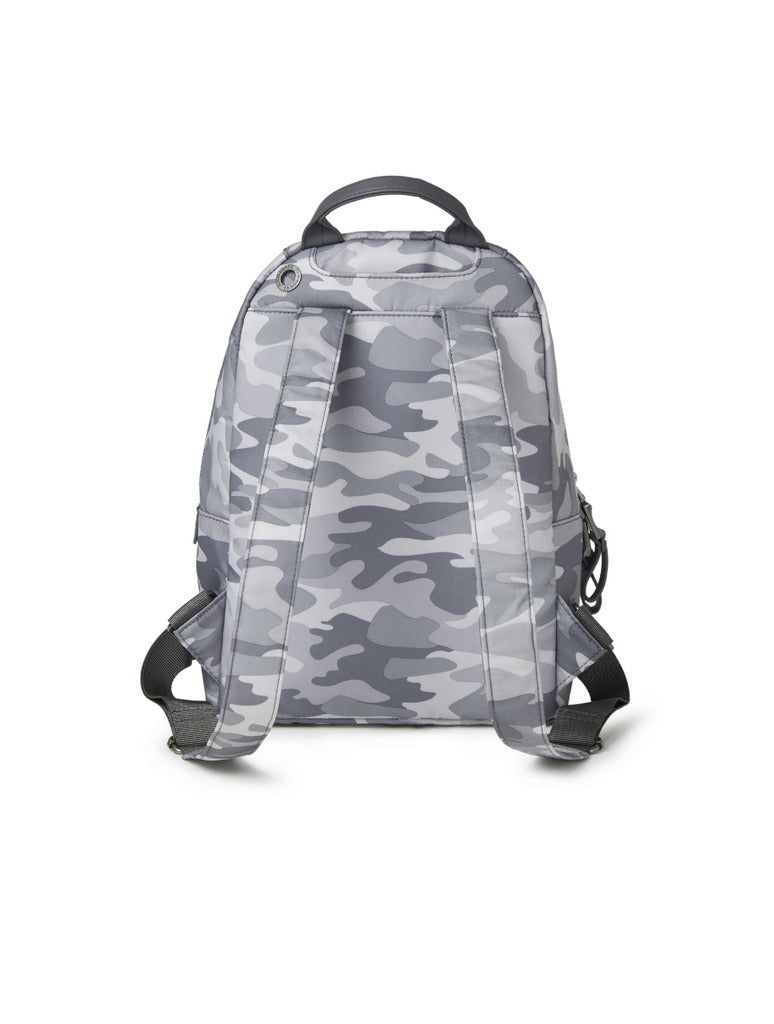 Baggalini Central Park Backpack in Grey Camo