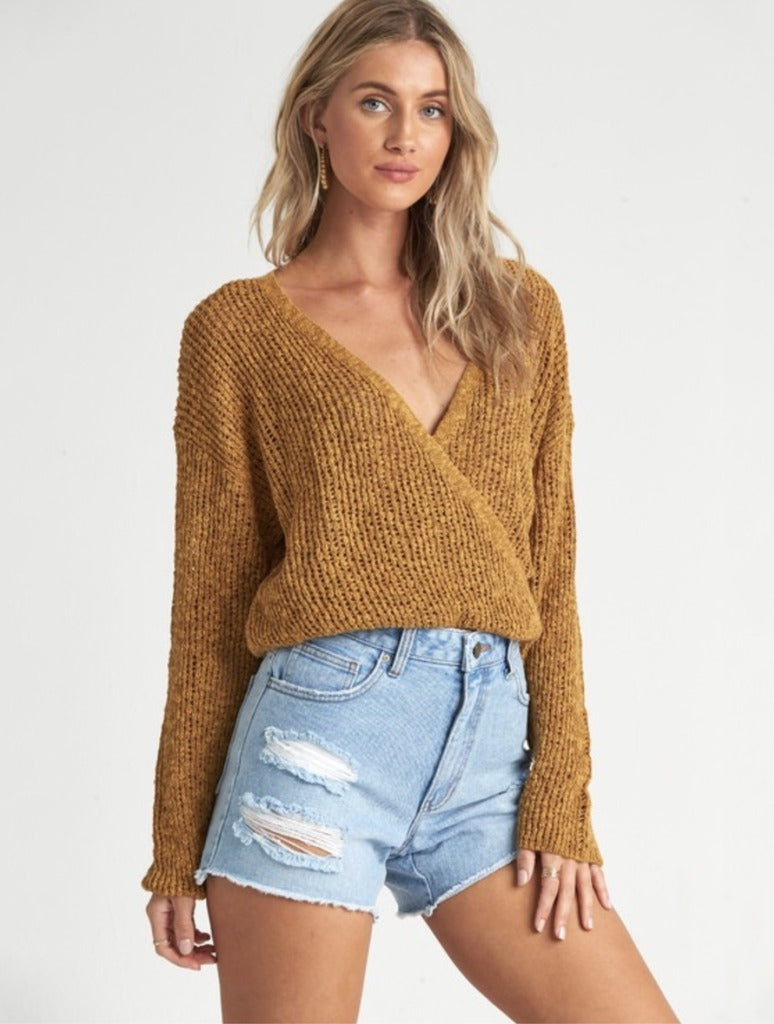 Billabong Sweet Bliss Wrap Sweater in Moss