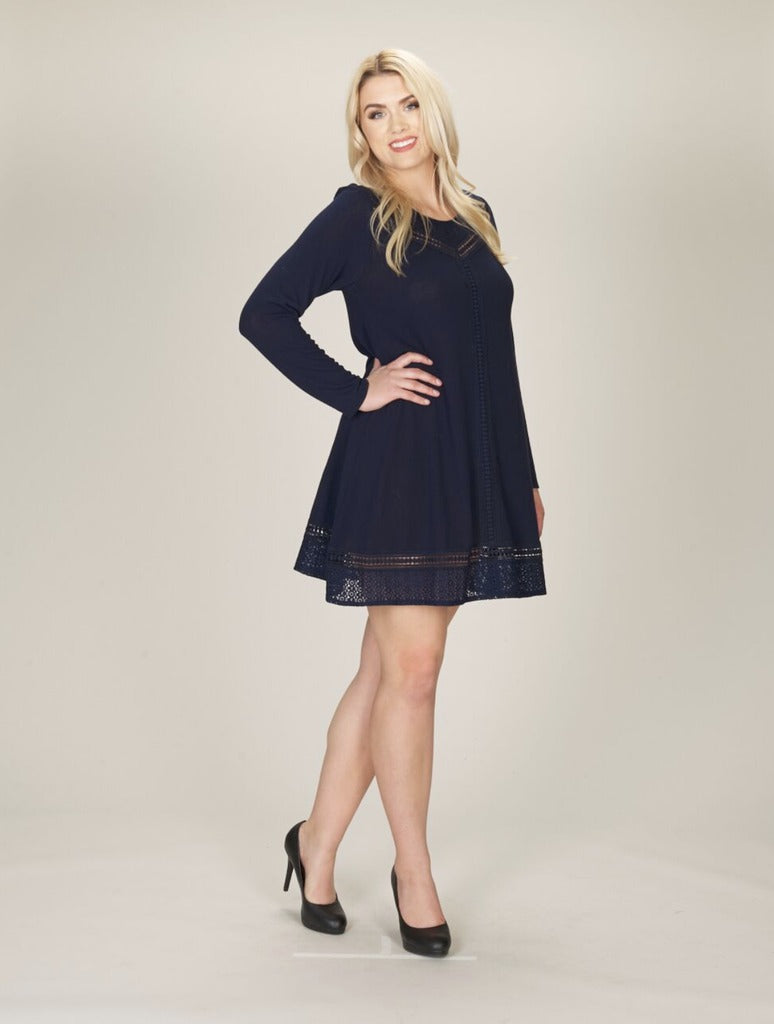 Papillon Sweater Dress in Navy