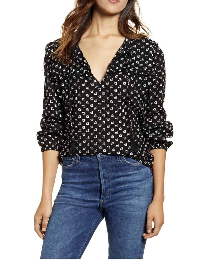 Lucky Brand Miriam Ruffle Top in Black