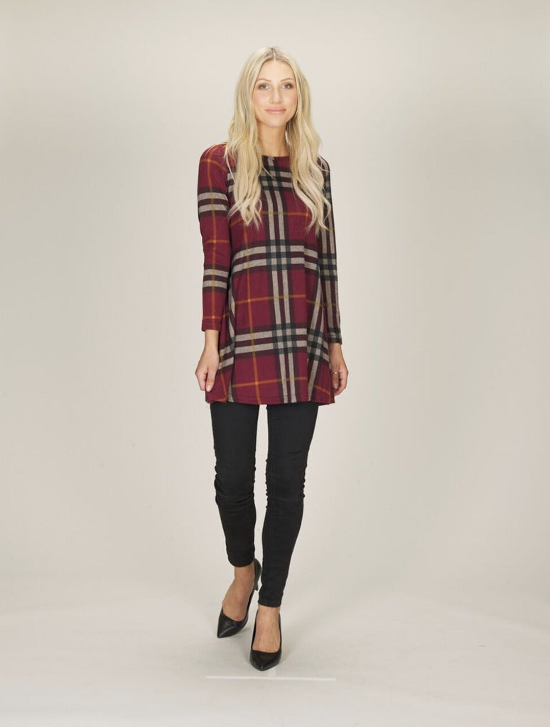 Papillon Plaid Dress in Burgundy