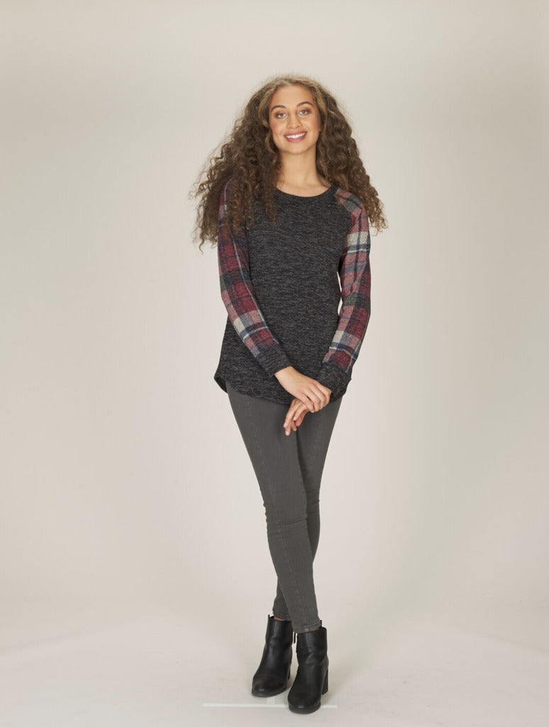 Papillon Baseball Plaid Top in Charcoal