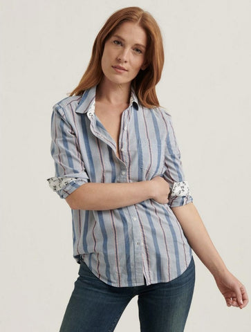Lucky Brand Classic Ruffle Shirt in Navy Multi