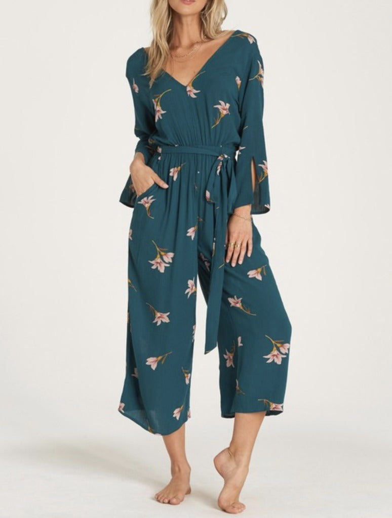 Billabong Twist Back Jumpsuit in Jade