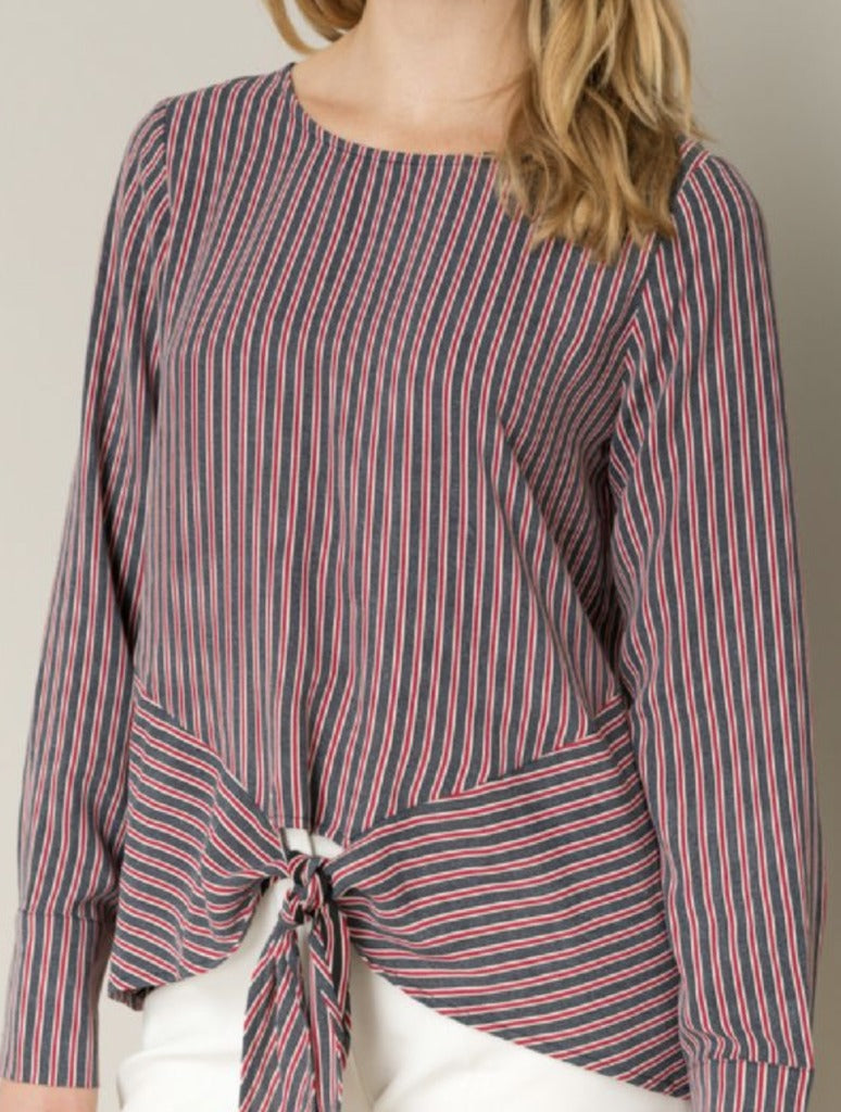 Hem & Thread Striped Blouse in Red/Blue