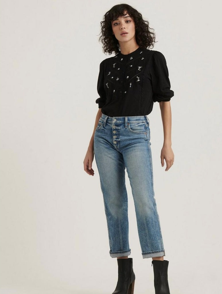 Lucky Brand Henley Top in Black
