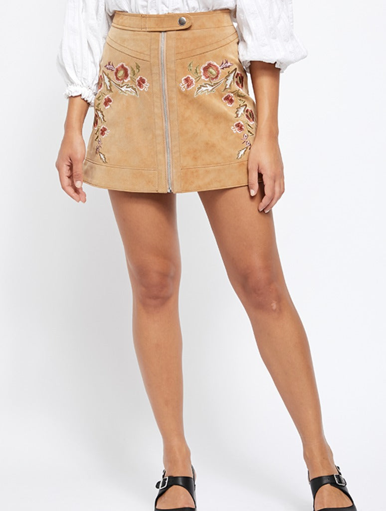 Free People Alanis Moto Skirt in Camel