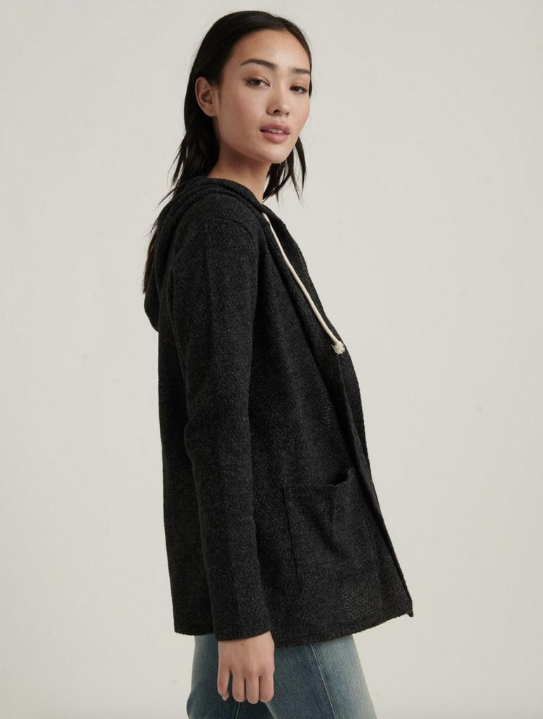 Lucky Brand Swit Hooded Cardi in Charcoal