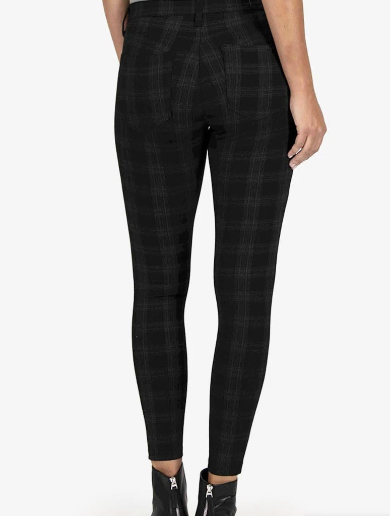Kut Mia Knit Skinny Pant in Grey Plaid