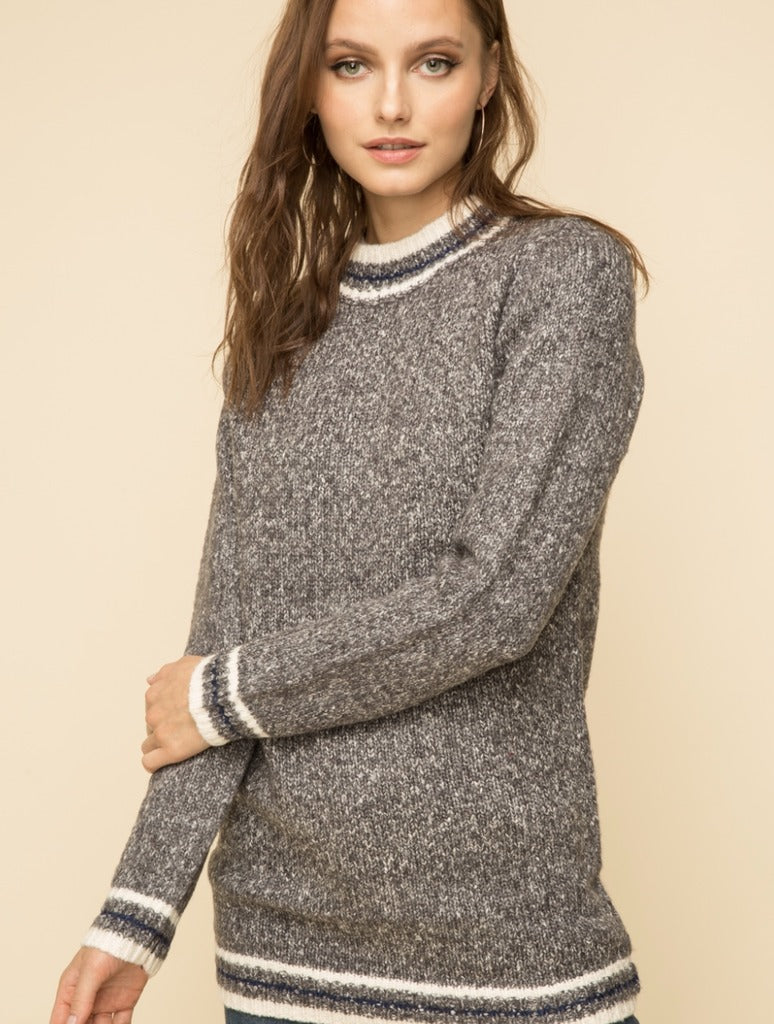 Hem & Thread Crew Neck Sweater in Charcoal