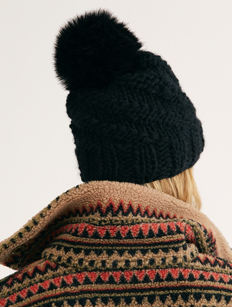 Free People High Line Pom Beanie in Black