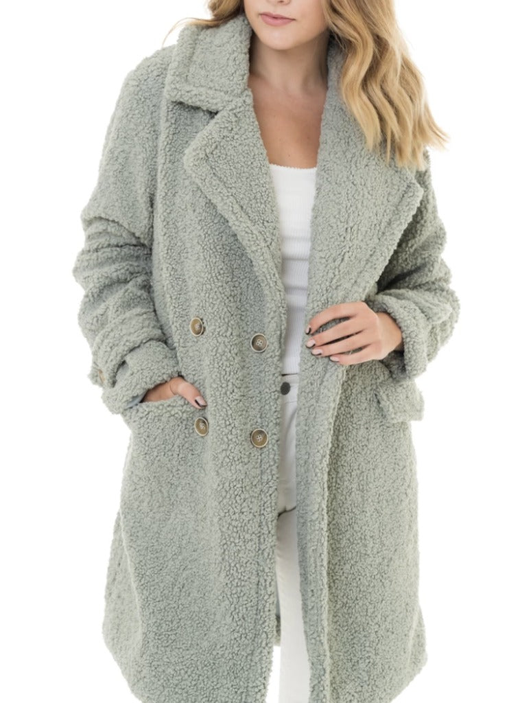 Woven Heart Fleece Coat in Sage