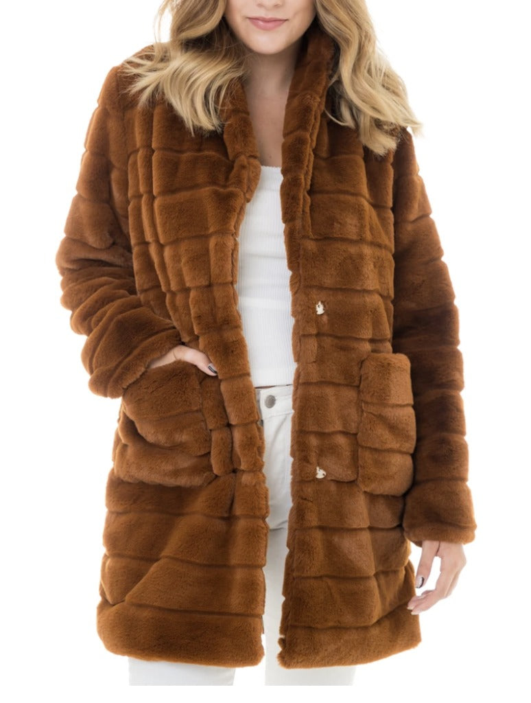 Woven Heart Fur Coat in Brown