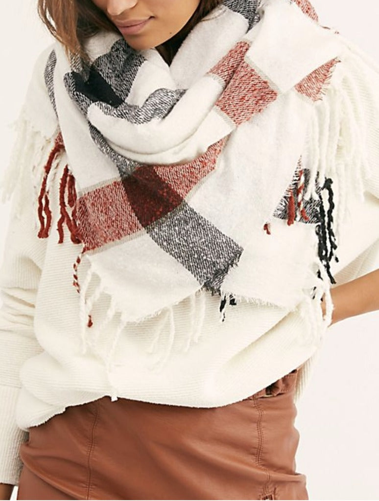 Free People Valley Plaid Scarf in Ivory