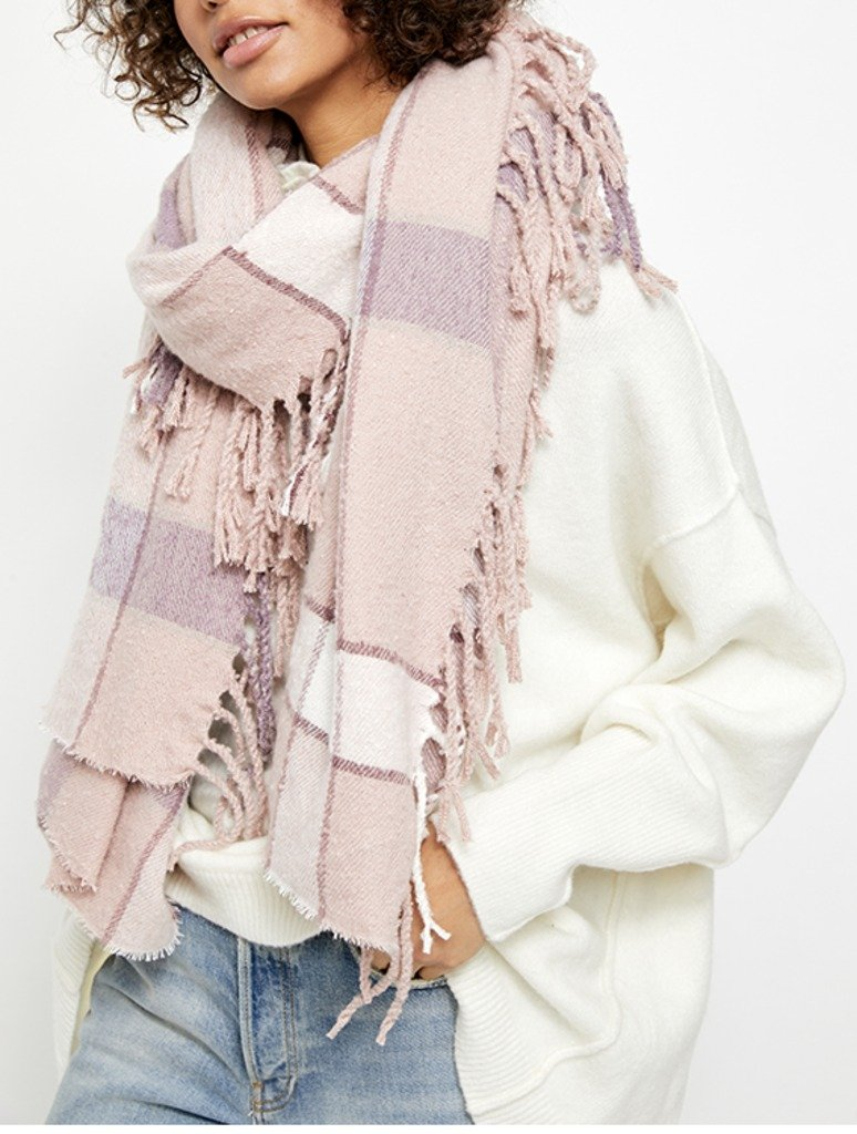 Free People Valley Plaid Scarf in Pink