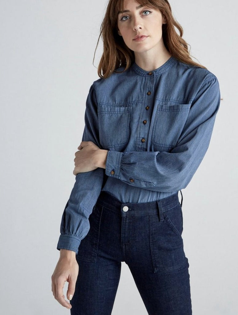 Lucky Brand Edie Popover Striped Shirt in Blue