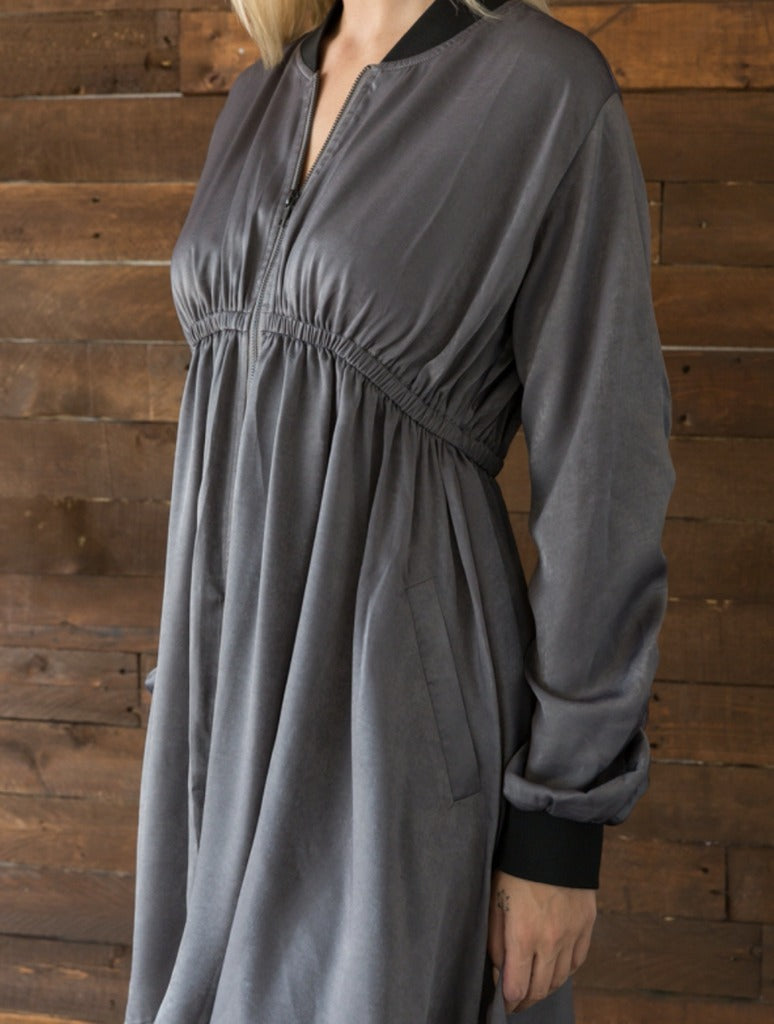 Mystree Flare Coat in Grey