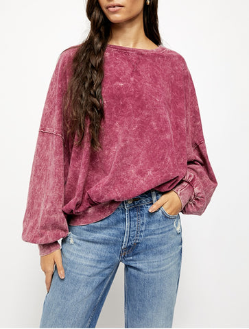 Free People Arden Tee in Plum