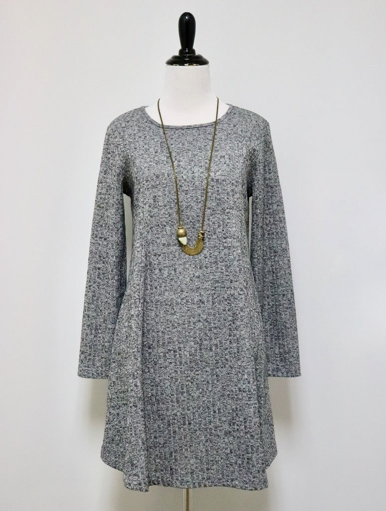 Papillon Ribbed Dress in Grey