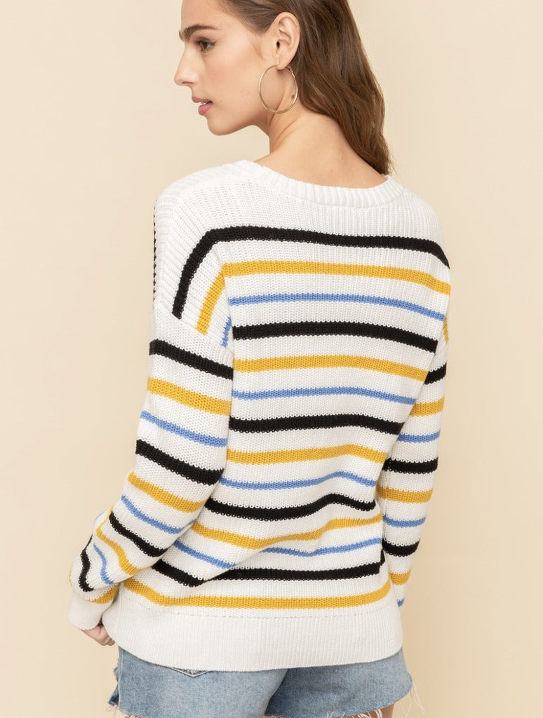 Hem & Thread Striped Sweater in Cream
