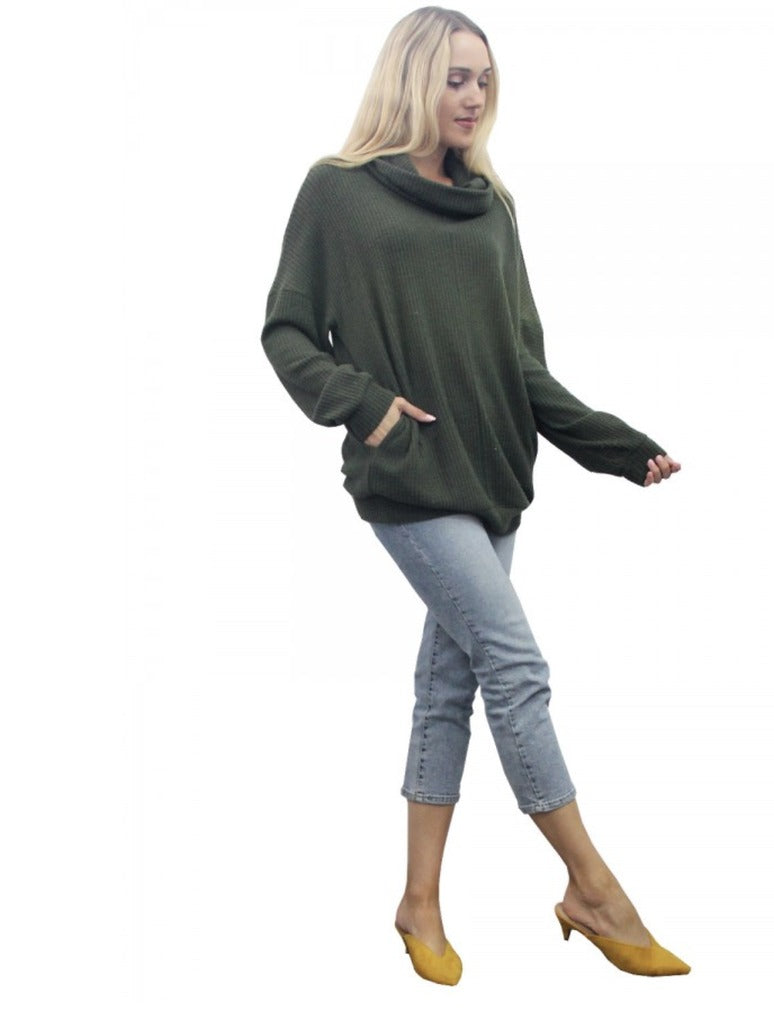 Coin 1804 Thermal Cowl Neck Tunic in Army