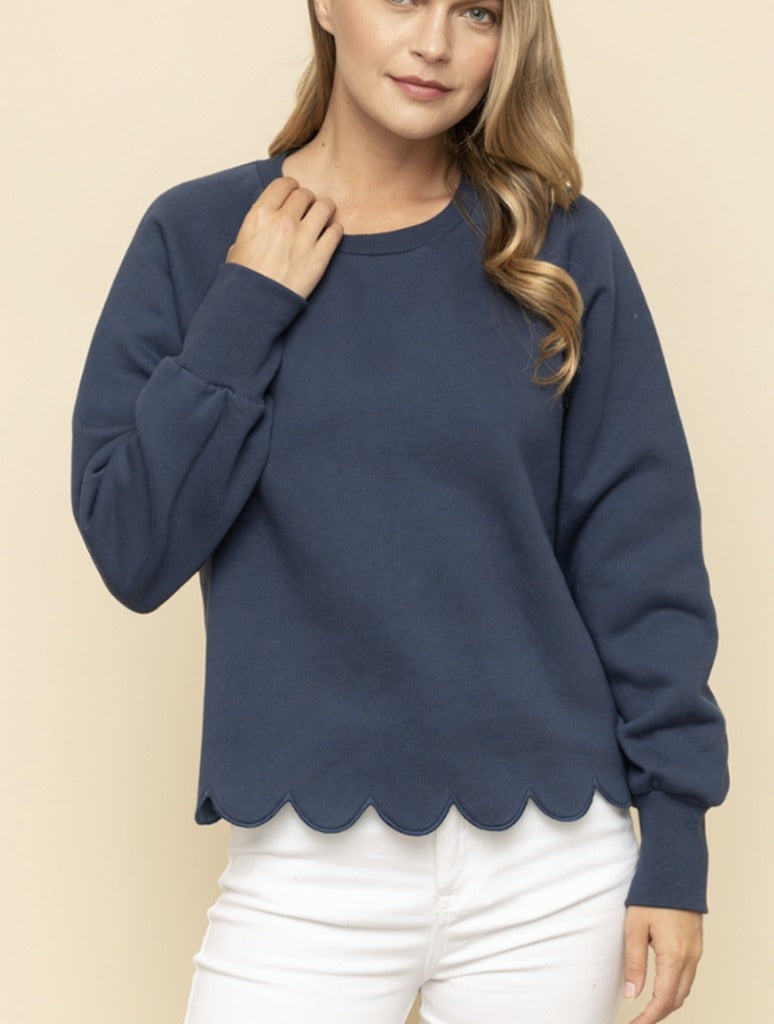 Mystree Scalloped Hem Sweatshirt in Blue
