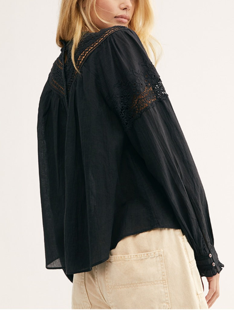 Free People Abigail Victorian Top in Black