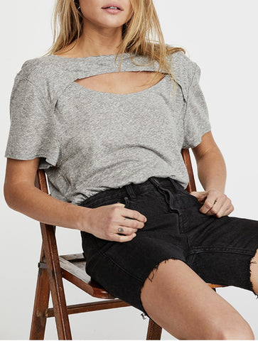 Free People Arden Tee in Black