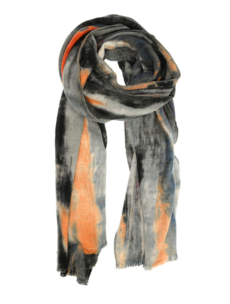 Joy Susan Blurred Stripe Scarf in Charcoal