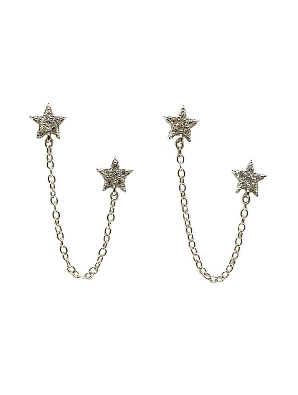 Athena Designs Double Star Earring With Chain in Silver