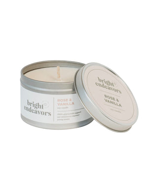 Bright Endeavors 8oz Large Tin in Rose/Vanilla