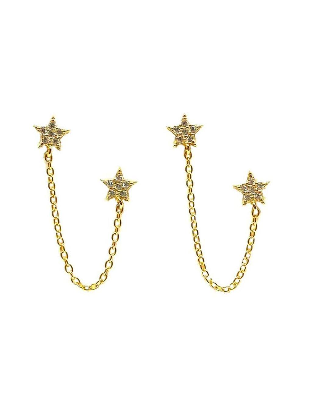 Athena Designs Double Star Earring With Chain in Gold