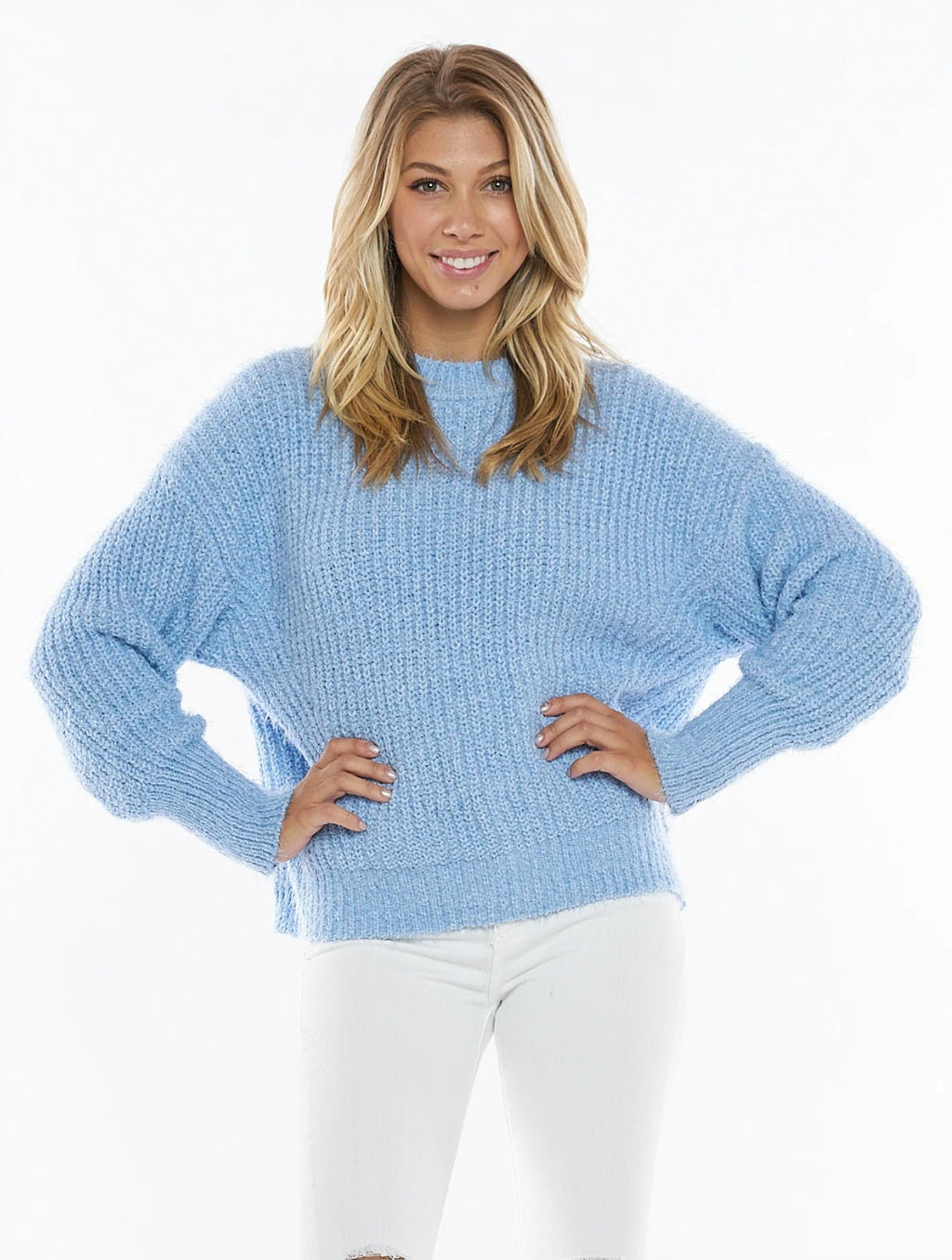 Very J Knit Sweater in Sky