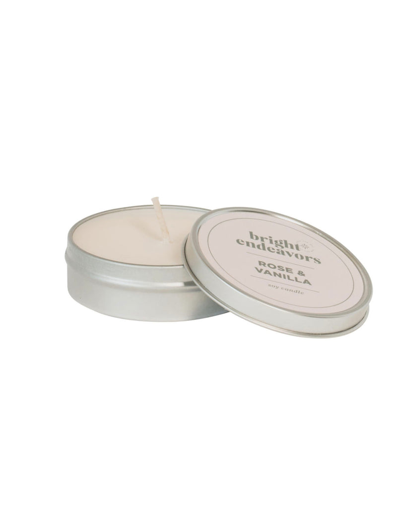 Bright Endeavors 4oz Small Tin Candle in Rose/Vanilla