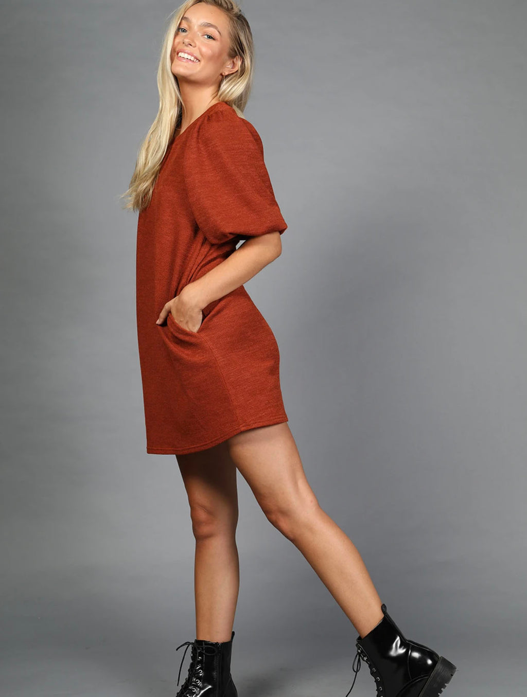 Very J Puff Sleeve Dress in Rust