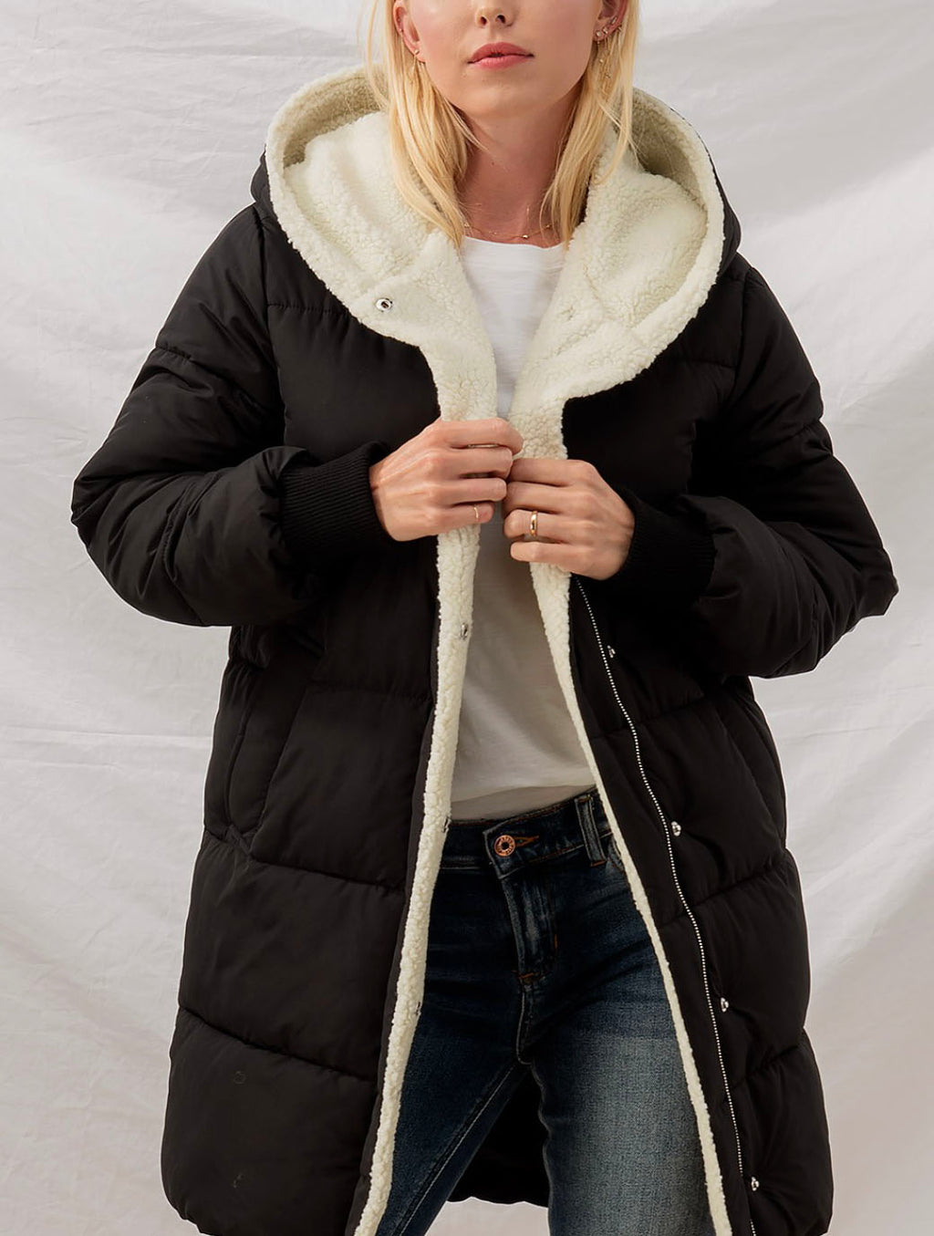Trend Notes Long Sherpa Hooded Coat in Black
