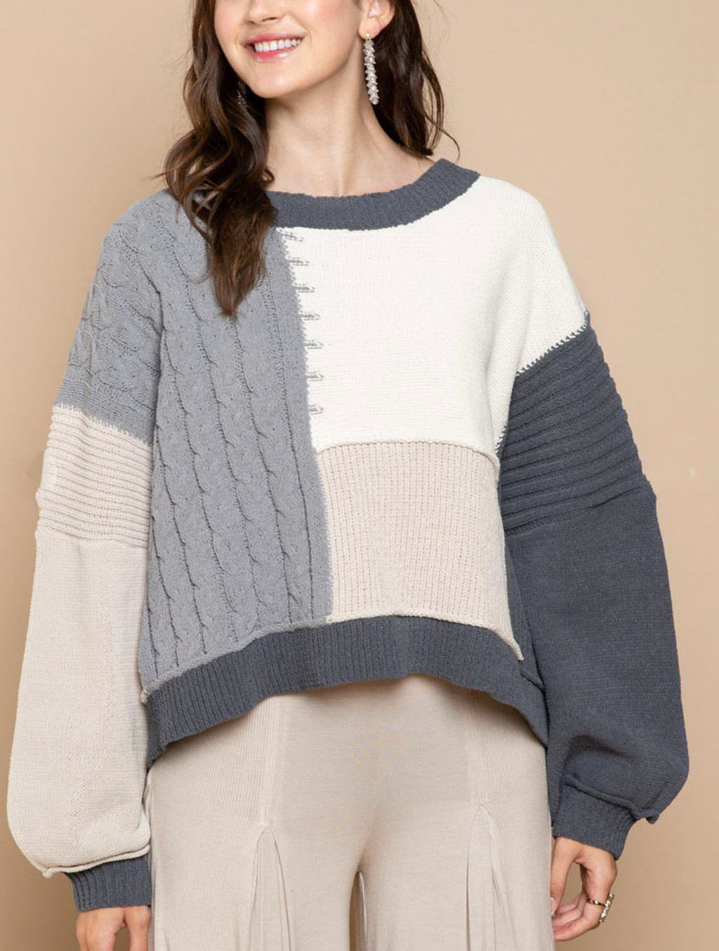 Pol Patchwork Pullover Sweater in Charcoal Multi